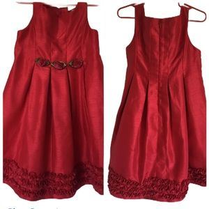 Carter's Girls Red Satin Pleated Rosette Dress 3T